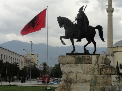 Skanderbeg statue in central square