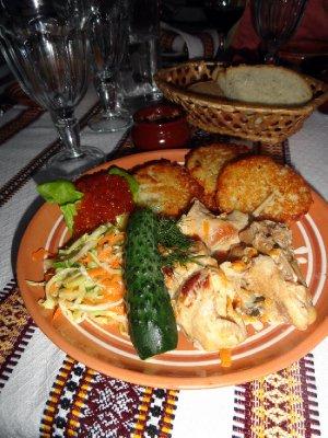 Potato Pankakes with Red Caviar and Rabbit