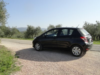 Toyota Yaris with filled tire