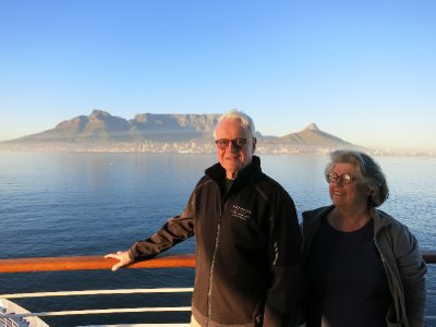 Approaching Cape Town and Table Mountain