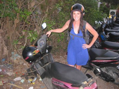 KT on scooter Bali