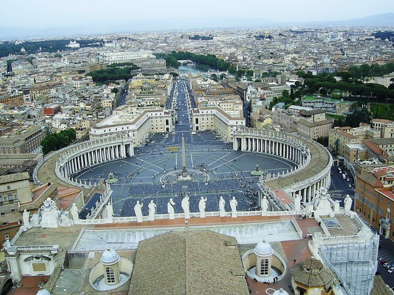 Rome St Peter's square from St Petr's dome