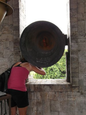 Miriam in the belltower, Dumaguete
