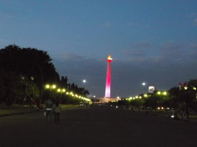 National Monument in Jakarta as it got dark