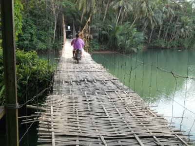 Our friend Tono going across the bamboo bridge on motorbike! (we walked). Near Green Valley.