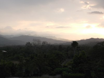 Gorgeous view from the top of Borobudur, approaching sunset
