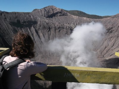 Looking out over the crater at Bromo