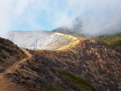 Approaching the massive crater at Ijen