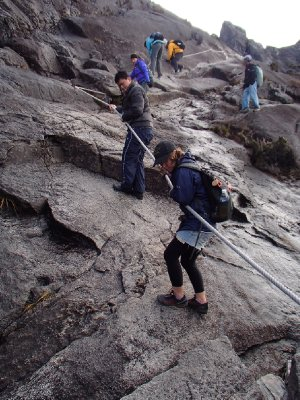 abseiling down the mountain!