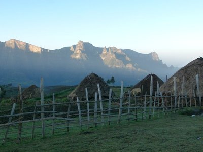 Simean Mountains escarpment from Mekarebia