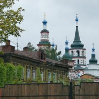 Irkutsk wooden house and church