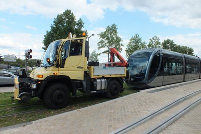 tram being towed