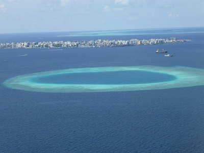 Awesome lagoon in the Indian ocean at Maldives