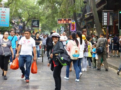 Crowded busy Muslim Street in Xi'an