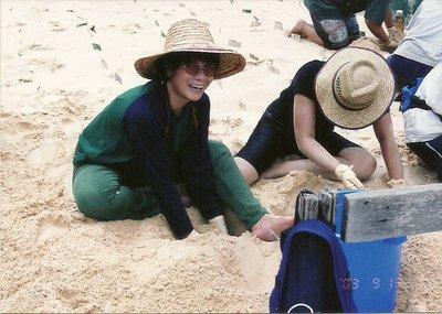 Digging the unhatched turtle eggs at Pulau Talan-Talang Kecil National  Park, Sarawak