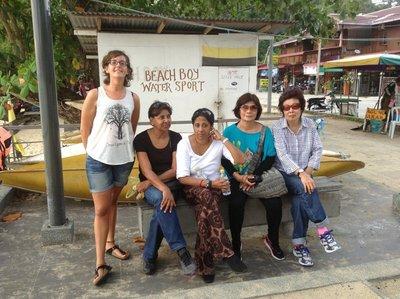 From left Italian Irene, Indra, Padmini, Me and Jin at the pangkor Island beach. 070713