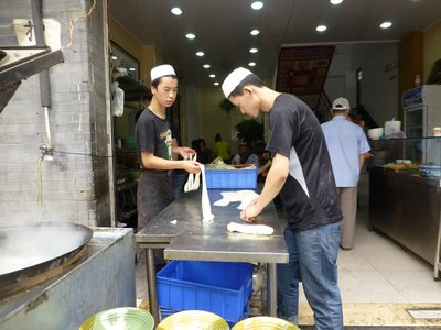Hand made noodle at a Muslim restaurant in Muslim Street, Xi'an