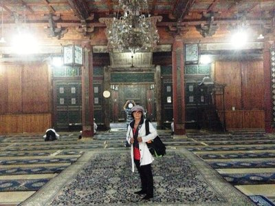 Inside the old Xi'an Great Mosque after Friday prayer.