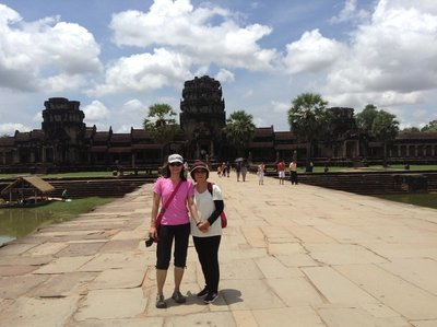 Maz and I on the bridge of Anglor Wat moat.
