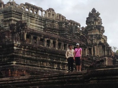 Maz and the guide, Mardi, at the first level of Bahoun Temple. 170613