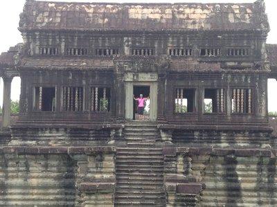 Maz climbed up the library of Angkor Wat