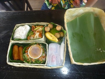 Our lunch neatly packed in pandan leave container.