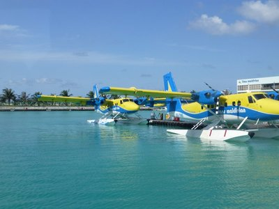 Sea planes ready to take tourists for a spin to see God's creation