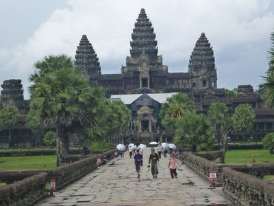The main towers of Angkor Wat. The white patch is the roof of restoration work.