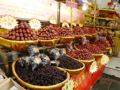 The many variety of dried Chinese dates sold at Muslim Street, Xi'an. 200913