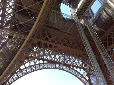 The steel structure of Eiffel Tower from the bottom. 250413