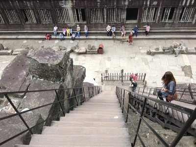 The steep, narrow stone steps were covered by wooden gradual steps which are easier to climb.