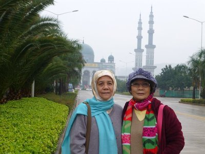 With roommate, Ramlah with the Shadian Gig Mosque as t the background.