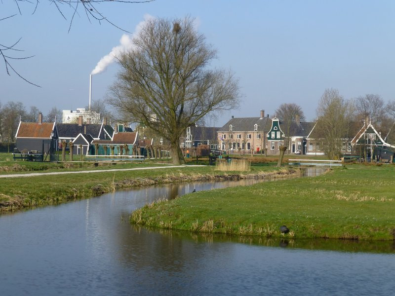 Attractive Dutch houses at Zaanse Schans village. 220413