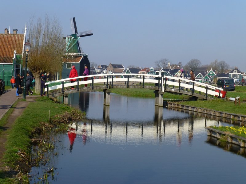 Attractive bridge crossing the canal at Zaanse Schanse village, Amsterdam 220413