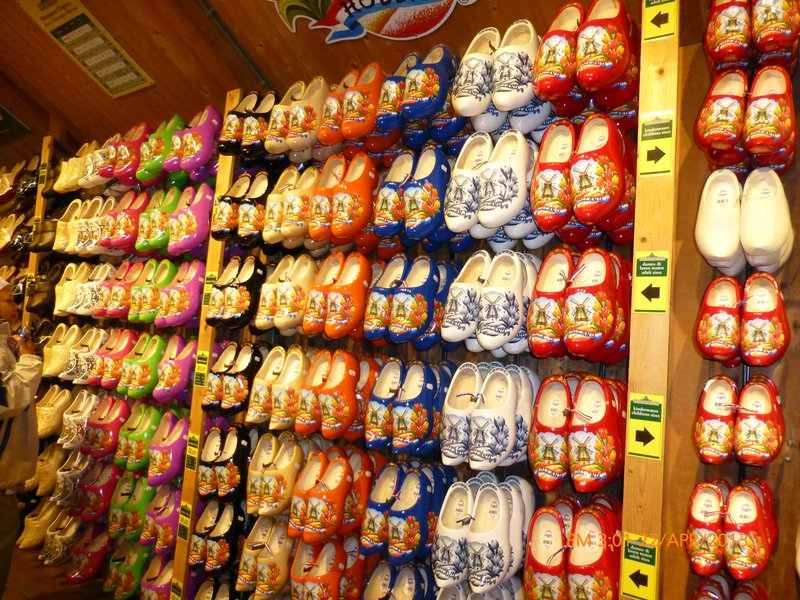 Dutch wooden clogs aglore at souvenir shop in Zaanse Schans village, Amsterdam. 220413