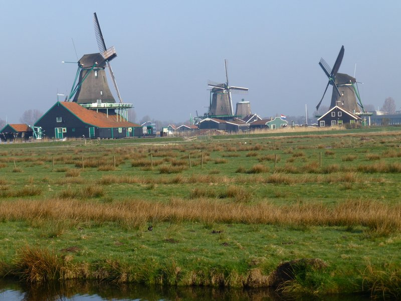 Windmills at Zaanse Schans village, Amsterdam. 220413