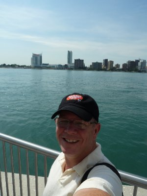 Larry in Detroit Michigan with Windsor Canada in the background