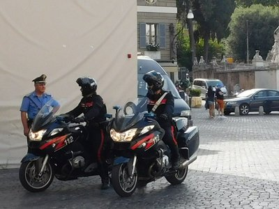 Police officers on motor cycles - Via deil Corso - Rome - July 2016 (2)