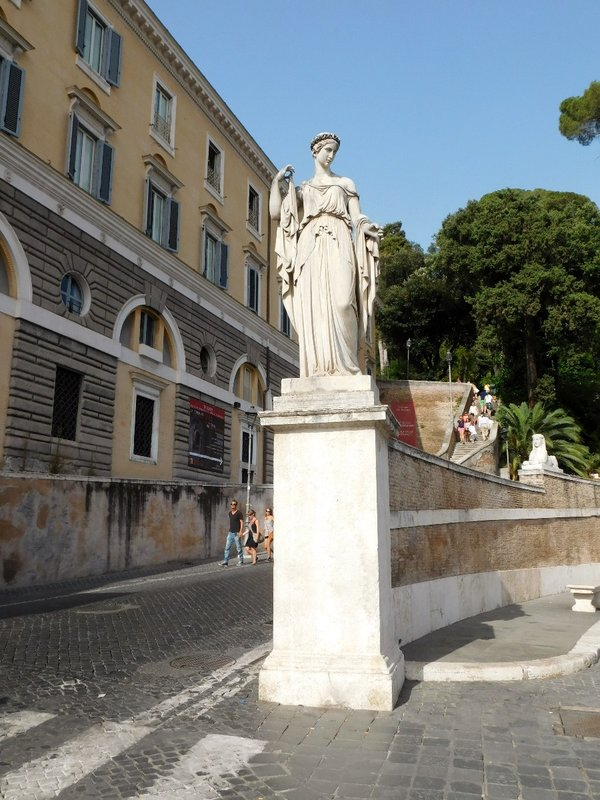 One of four allegorical sculptures in Piazza del Popolo - La Primavera - Spring - by Filippo Gnaccarini - Rome - July 2016 (2)