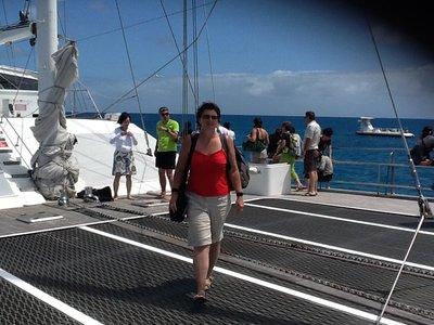 Flanerend op onze catamaran