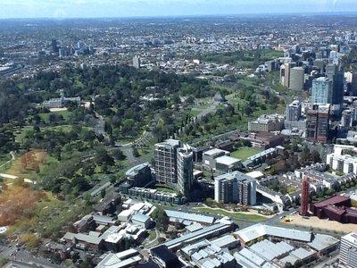 Van op  de Eureka building zicht op de enorme stad : Melbourne