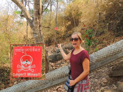 A terrified Tam at Banan Temple!