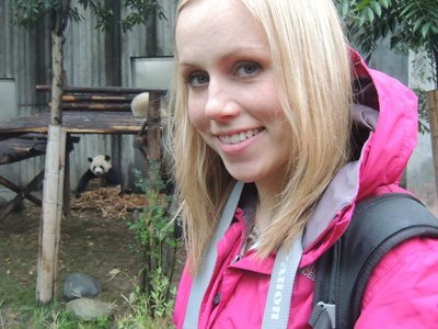 Tam with her favourite greedy panda!