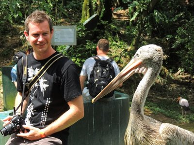 Adam having a chat with a pelican!
