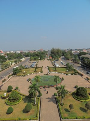 Sightseeing day in Vientiane - view from the top of Victory Gate