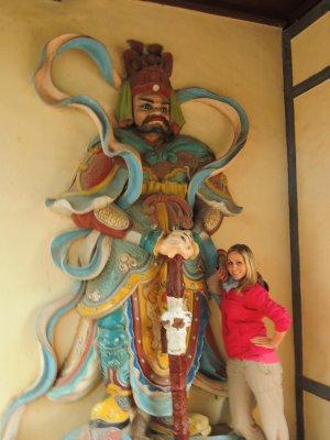 Tam making friends at Thien Mu Pagoda