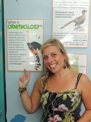 Jo loving the information boards in KL bird park!