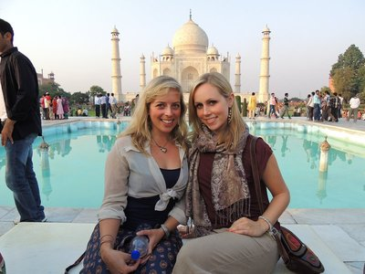 Us on Diana's seat at the Taj Mahal