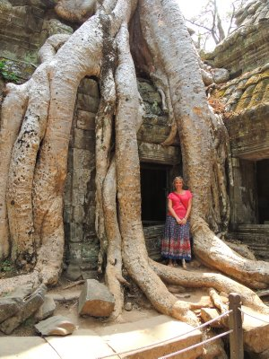 Jo at Ta Prohm (Indiana Jones temple)