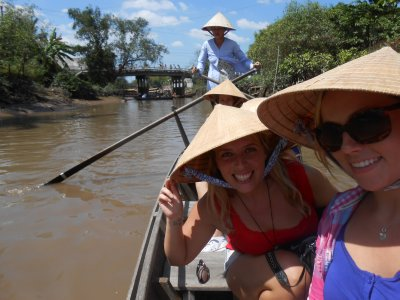 Row boat trip on our Mekong river tour